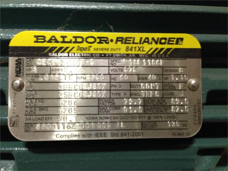 Cecp83665t 5 P1861186f 5 Hp 1800 Rpm Baldor Reliance