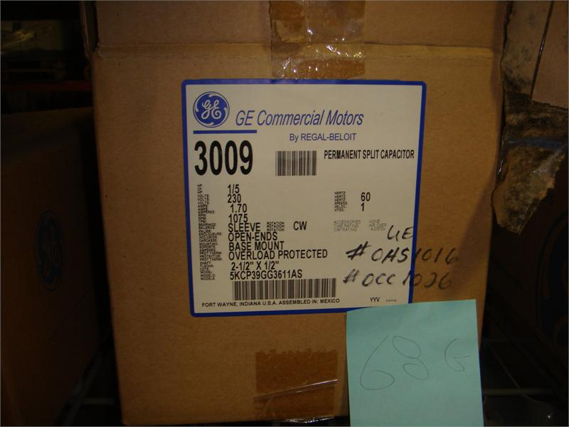 3009 1/5 HP, 1075 RPM NEW GE ELECTRIC MOTOR